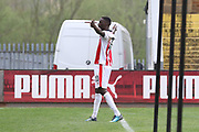 Mohamed Eisa celebrates his 2nd goal during the EFL Sky Bet League 2 match between Cambridge United and Cheltenham Town at the Cambs Glass Stadium, Cambridge, England on 21 April 2018. Picture by Antony Thompson.