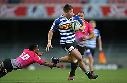 Huw Jones of Western Province gets past Kevin Luiters of the Pumas attempted tackle during the Currie Cup Premier Division match between the DHL Western Province and the Pumas held at the DHL Newlands rugby stadium in Cape Town, South Africa on the 17th September  2016<br /> <br /> Photo by: Shaun Roy / RealTime Images