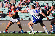 Lachlan Burr attempts a tackle on James Tedesco. Sydney Roosters v Vodafone Warriors. NRL Rugby League. Sydney Cricket Ground, Sydney, Australia. 18th August 2019. Copyright Photo: David Neilson / www.photosport.nz