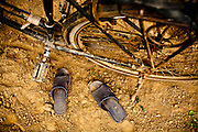 Above view of plastic sandals and a bicycle, Vietnam, Southeast Asia