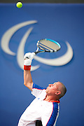 Peter Norfolk of Great Britain playing against Sweden's Johan Andersson of Sweden in the Gold Medal Final of The men's Quad Tennis on centre court at the Olympic Green Tennis Centre in Beijing at the Paralympic games, Beijing, China. 14th September 2008
