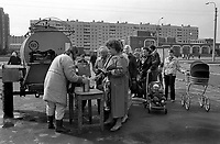 Milk queue.<br />