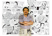 "Tetsu Kariya, writer of the best-selling manga series ""Oishinbo"", is superimposed on pages of one of his manga titled ""The Taste of Japan."".Photographer: Robert Gilhooly"