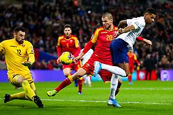 Marcus Rashford of England attempts a backheel past Milan Mijatovic of Montenegro - Rogan/JMP - 14/11/2019 - FOOTBALL - Wembley Stadium - London, England - England v Montenegro - UEFA Euro 2020 Qualifiers.