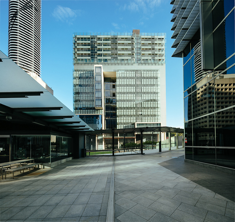 Exterior of Queen Elizabeth II Courts of Law building on Roma Street, Brisbane CBD.