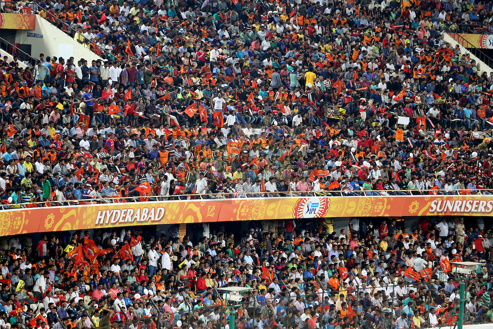 Sunrisers Hyderabad fans during match 27 of the Vivo IPL 2016 (Indian Premier League ) between the Sunrisers Hyderabad and the Royal Challengers Bangalore held at the Rajiv Gandhi Intl. Cricket Stadium, Hyderabad on the 30th April 2016<br /> <br /> Photo by Faheem Hussain / IPL/ SPORTZPICS
