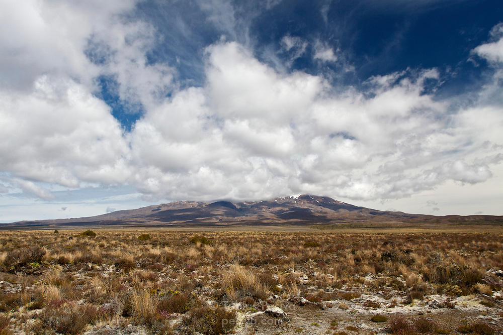 View of active volcano Mount Ruapehu, on the Central Plateau of the North Island, New Zealand.