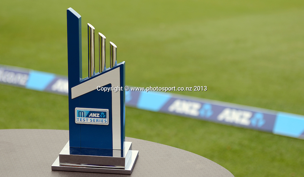 ANZ series trophy on Day 3 of the 3rd cricket test match of the ANZ Test Series. New Zealand Black Caps v West Indies at Seddon Park in Hamilton. Saturday 21 December 2013. Photo: Andrew Cornaga / www.Photosport.co.nz