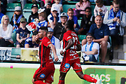 SUNDSVALL, SWEDEN - MAY 19: Hosam Aiesh of Ostersunds FK celebrates after scoring to 0-2 during the Allsvenskan match between GIF Sundsvall and Ostersunds FK at Idrottsparken on May 19, 2018 in Sundsvall, Sweden. Photo: Nils Petter Nilsson/Ombrello ***BETALBILD***