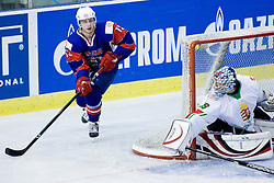 Jan Mursak of Slovenia and goalie Zoltan Hetenyi of Hungary at IIHF Ice-hockey World Championships Division I Group B match between National teams of Hungary and Slovenia, on April 23, 2010, in Tivoli hall, Ljubljana, Slovenia. (Photo by Matic Klansek Velej / Sportida)