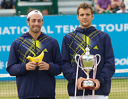 LIVERPOOL, ENGLAND - Saturday, June 19, 2010: 2010 Men's Champion Paul-Henri Mathieu (FRA) (R) with runner-up Nicolas Massu (CHI) after the Men's Singles Final on day four of the Liverpool International Tennis Tournament at Calderstones Park. (Pic by David Rawcliffe/Propaganda)