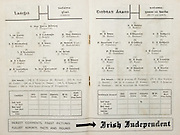 All Ireland Senior Hurling Championship Final,.Brochures,.04.09.1949, 09.04.1949, 4th September 1949, .Tipperary 3-11, Laois 0-3, .Minor Kilkenny v Tipperary, .Senior Tipperary v Laois, .Croke Park, ..Laois Senior Team, T Fitzpatrick, Goalkeeper, W White, Right corner-back, J Bergin, Full-back, P McCormack, Left corner-back, J Murray, Right half-back, T Byrne, Centre half-back, P Rustchitzko, Captain, Left half-back, W Bohane, Midfielder, J Styles, Midfielder, P Hogan, Right half-forward, H Gray, Centre half-forward, P O'Brien, Left half-forward, P Lalor, Right corner-forward, D Forde, Centre forward, P Kelly, Left corner-forward, Substitutes, K Hyland, D Cooke, A Dunne, W. Dargan, P Fitzpatrick, ..Tipperary Senior Team, A Reddin, Goalkeeper, M Byrne, Right corner-back, A Brennan, Full-back, J Doyle, Left corner-back, P Stakelum, Captain, Right half-back, F Coffey, Centre half-back, T Doyle, Left half-back, P Shanahan, Midfielder, S Kenny, Midfielder, T Ryan, Right half-forward, M Ryan, Centre half-forward, J Kennedy, Left half-forward, J Ryan, Right corner-forward, M. Maher, Centre forward, S. Bannon, Left corner-forward, Substitutes, P Furlong, J Devitt, P Kenny, E Gorman, R Stakelum, ..Advertisements, Irish Independent,