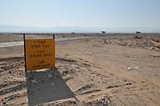 Israel, Aravah Desert Border ahead warning sign