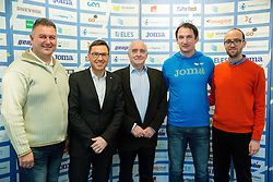 Vladimir Kevo, Roman Dobnikar, Martin Steiner, Primoz Kozmus and Luka Steiner during press conference when Slovenian athletes and their coaches sign contracts with Athletic federation of Slovenia for year 2016, on February 25, 2016 in AZS, Ljubljana, Slovenia. Photo by Vid Ponikvar / Sportida