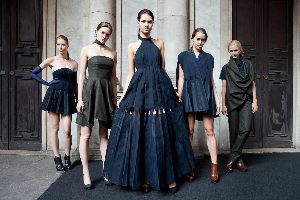 Milan, Italy September 23, 2013. Presentation of Japanese designer Ryuya Osishi for Camera Nazionale della Moda Italiana.