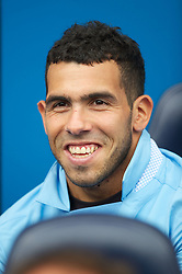 21.08.2011, Reebok Stadium, Bolton, ENG, PL, Bolton Wanderers FC vs Manchester City FC, im Bild Manchester City's substitute Carlos Tevez sits on the bench against Bolton Wanderers during the Premiership match at the Reebok Stadium, EXPA Pictures © 2011, PhotoCredit: EXPA/ Propaganda/ D. Rawcliffe *** ATTENTION *** UK OUT!