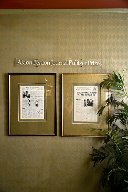 Akron Beacon Journal Pulitzer Prizes display.