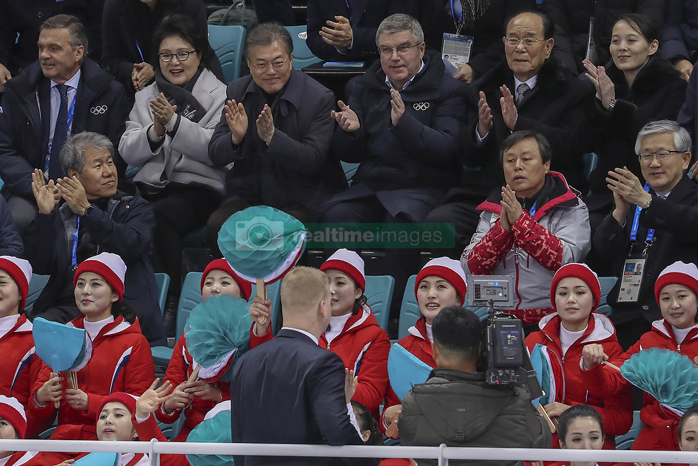 February 10, 2018 - Gangneung, GANGWON, SOUTH KOREA - Feb 10, 2018-Gangneung, South Korea-South Korean President Moon Jae In(center left) and North Korean delegation Kim Yong Nam(center right) attend during the 2018 pyeongchang Winter Olympic Korea v Swiss Women Ice Hockey at Gwandong Hockey Center in Gangwon, South Korea. (Credit Image: © Gmc via ZUMA Wire)