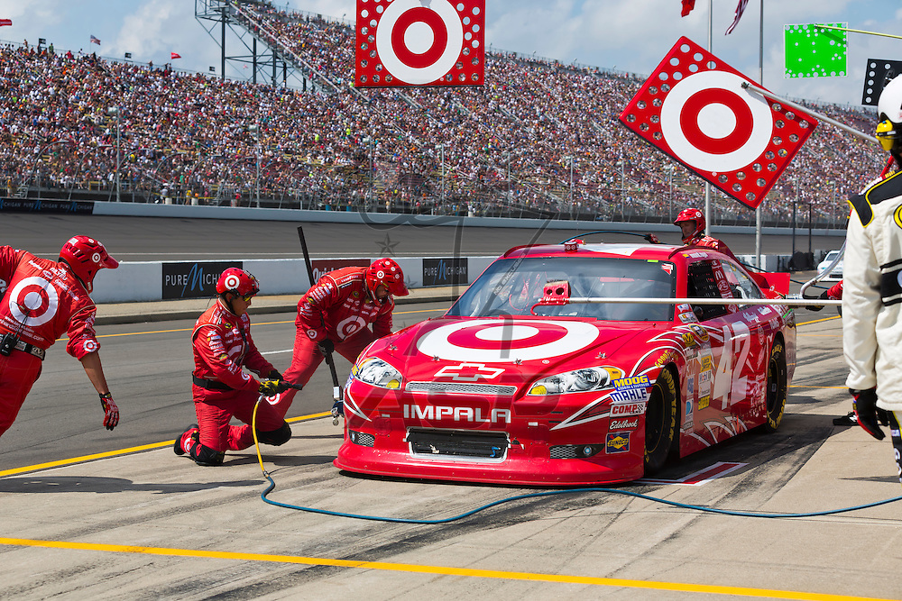 BROOKLYN, MI - JUN 17, 2012:  Juan Pablo Montoya (42) brings in his Target Chevrolet for service during the Quicken Loans 400 at the Michigan International Speedway in Brooklyn, MI.