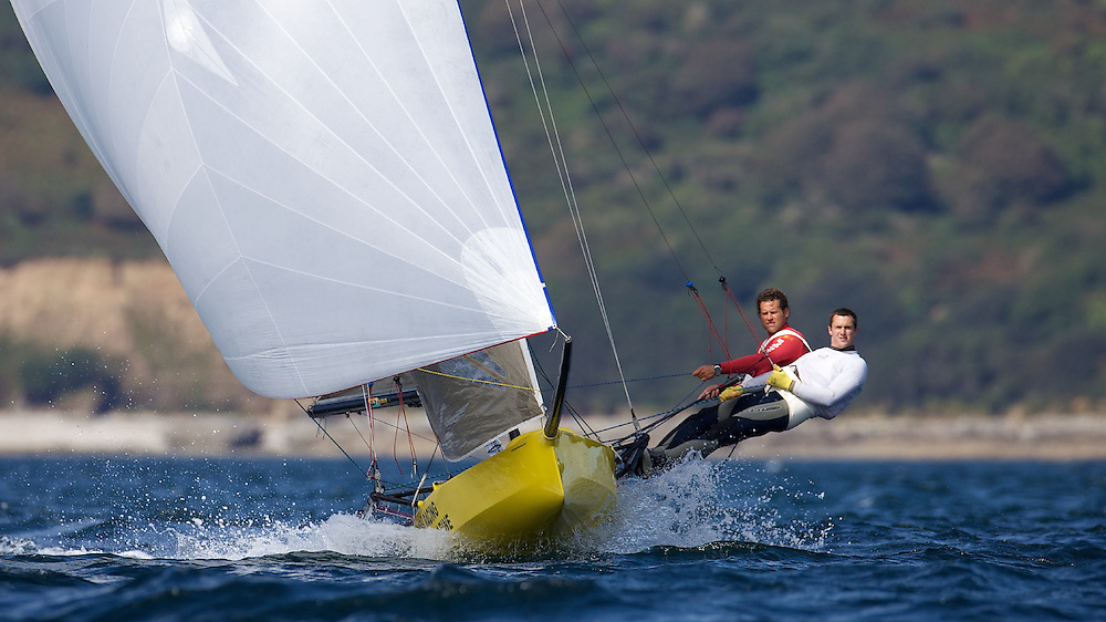 ENGLAND, Falmouth, Restronguet Sailing Club, 9th September 2009, International 14 Prince of Wales Cup Week, POW Cup Race, GBR1537 Alistair Richardson and Dan Johnson