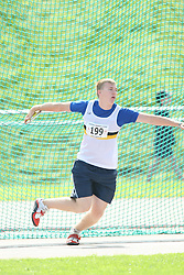 (Sherbrooke, Quebec---10 August 2008) Drew Sedor competing in the youth boys discus at the 2008 Canadian National Youth and Royal Canadian Legion Track and Field Championships in Sherbrooke, Quebec. The photograph is copyright Sean Burges/Mundo Sport Images, 2008. More information can be found at www.msievents.com.