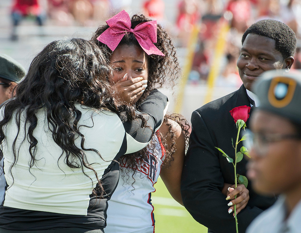Jaz'myne Perry is crowned Lamar High School Homecoming Queen during a football game between Bellaire High School and Lamar High School at Delmar Stadium, October 21, 2016.