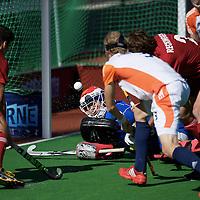 MELBOURNE - Champions Trophy men 2012<br /> Belgium v Netherlands<br /> foto:  goal for Belgium in the last minute 4-5, Pirmin Blaak defeated.<br /> FFU PRESS AGENCY COPYRIGHT FRANK UIJLENBROEK