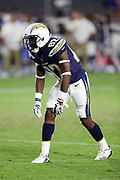 Los Angeles Chargers rookie wide receiver Artavis Scott (82) gets set to go out for a pass during the 2017 NFL week 1 preseason football game against the Seattle Seahawks, Sunday, Aug. 13, 2017 in Carson, Calif. The Seahawks won the game 48-17. (©Paul Anthony Spinelli)