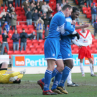 St Johnstone's Martin Hardie celebrates with goalscorer Jason Scotland in their Scottish First Division match against Airdrie Utd played at Mc Diarmid Park 20th January 2007.