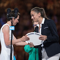 The chair umpire during the trophy presentation after winning the women's singles championship match during the 2018 Australian Open on day 13 in Melbourne, Australia on Saturday night January 27, 2018.<br /> (Ben Solomon/Tennis Australia)