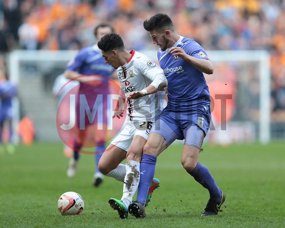 MK Dons' James Loveridge  (26) shiels the ball from Wolverhampton Wanderers defender Danny Batth (6)  - Photo mandatory by-line: Nigel Pitts-Drake/JMP - Tel: Mobile: 07966 386802 29/03/2014 - SPORT - FOOTBALL -  Stadium MK - Milton Keynes - Milton Keynes Dons v Wolverhampton Wanderers - Sky Bet League One