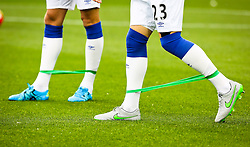 Everton players use an elastic warm up band before the match  - Mandatory byline: Matt McNulty/JMP - 07966386802 - 23/08/2015 - FOOTBALL - Goodison Park -Everton,England - Everton v Manchester City - Barclays Premier League