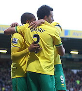 Picture by Paul Chesterton/Focus Images Ltd.  07904 640267.07/01/12.Simeon Jacksonof Norwich scores his sides 2nd goal and celebrates during the FA Cup third round match at Carrow Road Stadium, Norwich.