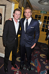 Left to right, GUY PELLY and JACOBI ANSTRUTHER-GOUGH-CALTHORPE at the Johnnie Walker Blue Label and David Gandy partnership launch party held at Annabel's, 44 Berkeley Square, London on 5th February 2013.