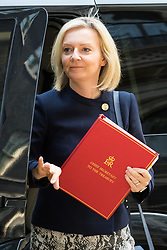 London, June 20th 2017. Chief Secretary to the Treasury Liz Truss attends the weekly cabinet meeting at 10 Downing Street in London.