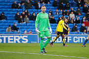 Cardiff City goalkeeper Allan McGregor (1) on loan from Hull during the EFL Sky Bet Championship match between Cardiff City and Burton Albion at the Cardiff City Stadium, Cardiff, Wales on 21 January 2017. Photo by Richard Holmes.