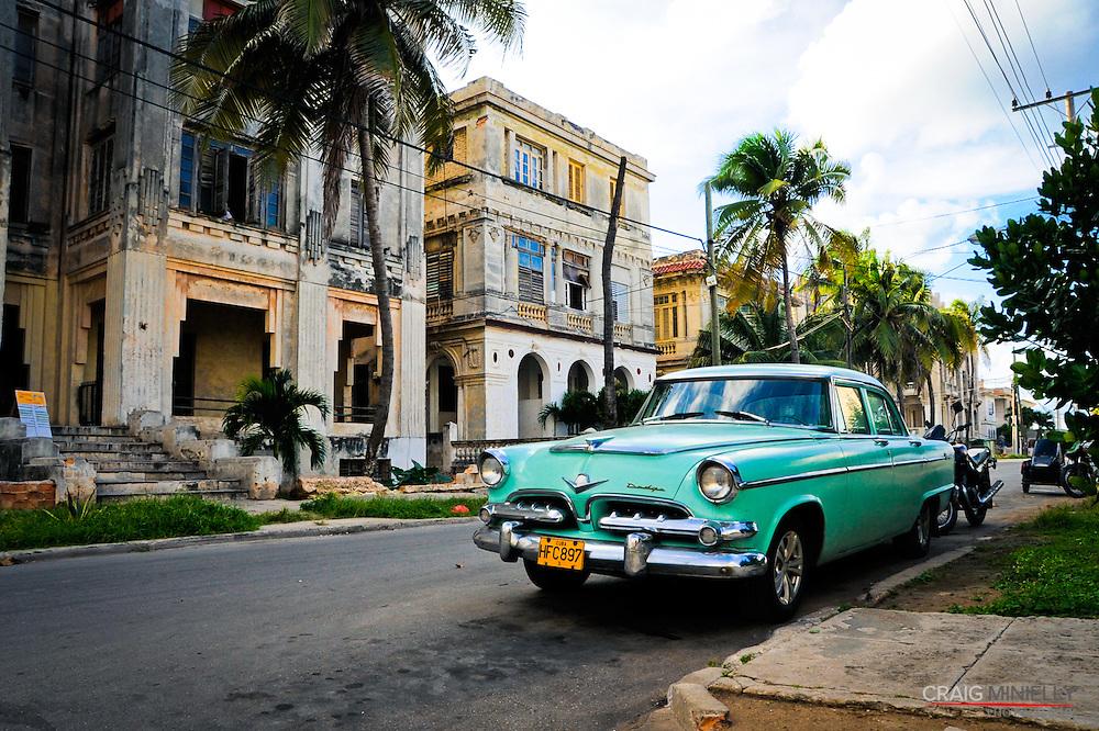Vintage Cars & Street Life.Havana, Cuba.Vedado Residential District
