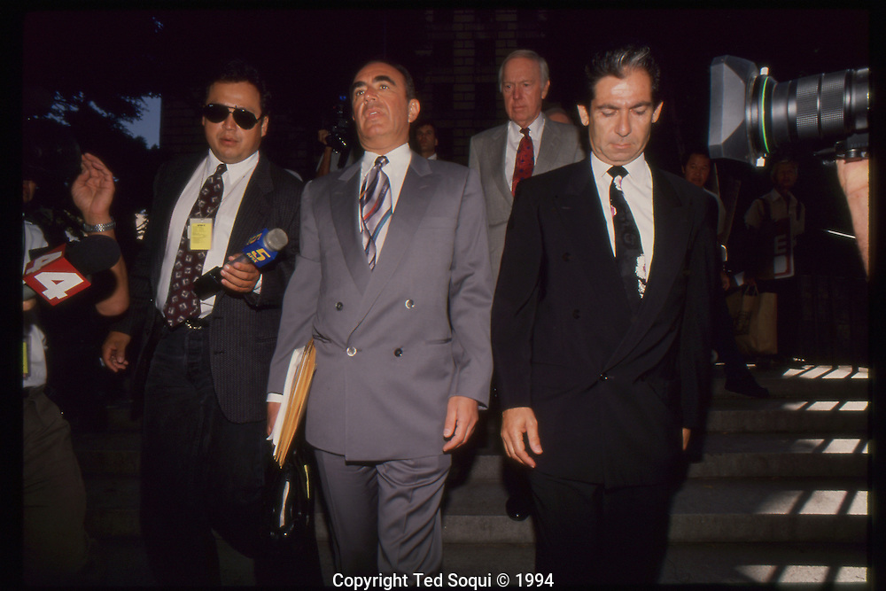 The OJ Simpson trial and media circus.<br /> OJ Simpson's lawyer Robert Shapiro and his best friend Robert Kardashian arriving to the criminal courthouse.