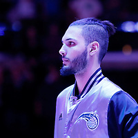 03 December 2014: Orlando Magic guard Evan Fournier (10) stands during the national anthem prior to the Los Angeles Clippers 114-86 victory over the Orlando Magic, at the Staples Center, Los Angeles, California, USA.