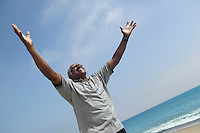 Very Happy Middle-Aged Man at Beach