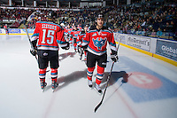 KELOWNA, CANADA, OCTOBER 20: Austin Ferguson #28 of the Kelowna Rockets takes part in a pre-game ritual as  the Vancouver Giants visited the Kelowna Rockets on October 20, 2011 at Prospera Place in Kelowna, British Columbia, Canada (Photo by Marissa Baecker/shootthebreeze.ca) *** Local Caption *** Austin Ferguson;