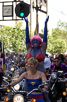 SAN FRANCISCO, CA - JUNE 24 : An-Marie Rodgers and Jewlia Eisenbeerg get ready to ride as they take part in the 37th annual LBGT Pride Parade on June 24, 2007 in San Francisco, California. Hundreds of thousands of people lined the streets of San Francisco to watch and take part in the parade.  (Photograph by David Paul Morris)