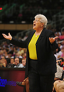 Aug 8, 2010; Phoenix, AZ, USA; Indiana Fever head coach Lin Dunn reacts during the first half at US Airways Center.  Mandatory Credit: Jennifer Stewart-US PRESSWIRE
