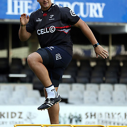 Etienne Oosthuizen during The Cell C Sharks Cap Run at Growthpoint Kings Park in Durban, South Africa. 5th May 2017(Photo by Steve Haag)<br /> <br /> images for social media must have consent from Steve Haag