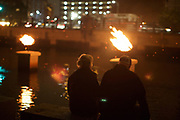 Providence, RI - October 1, 2016: The WaterFire festival on the rivers down the middle of the city.<br />  <br /> Credit: Clay Williams.<br /> <br /> © Clay Williams / http://claywilliamsphoto.com
