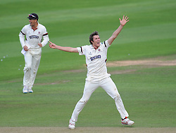 Somerset's Jamie Overton appeals for the wicket of Ben Cox - Mandatory byline: Alex Davidson/JMP - 07966386802 - 23/08/2015 - Cricket - County Ground -Taunton,England - Somerset CCC v Worcestershire CCC - LV= County Championship Division One - Day 3