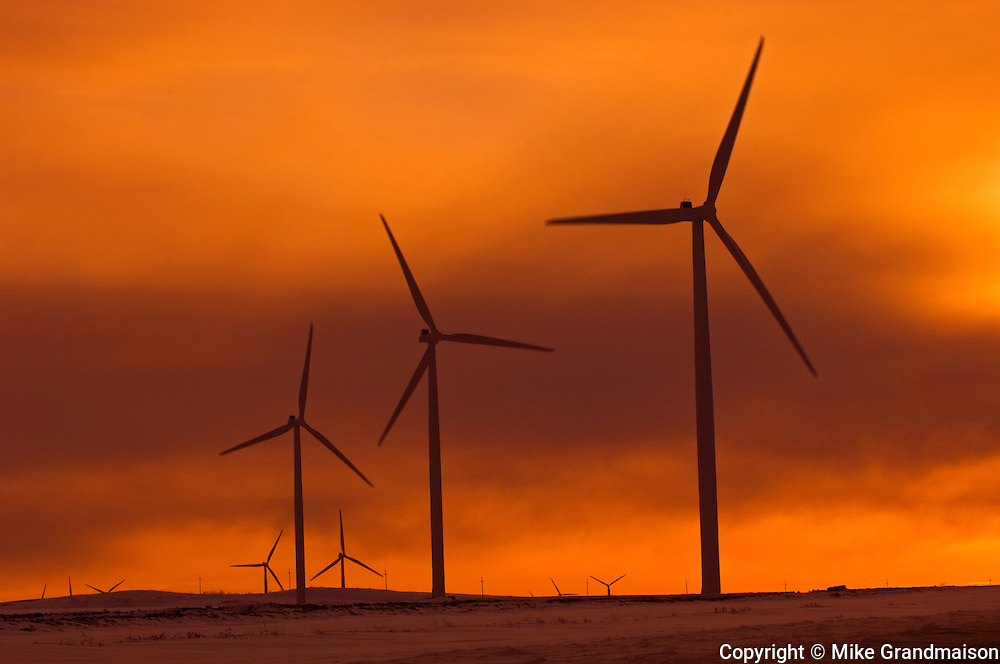 Wind turbines at sunset<br /> Somerset<br /> Manitoba<br /> Canada