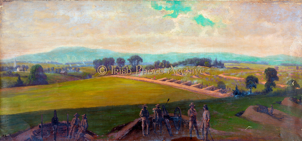 American Civil War 1861-1865: Battle of Gettysburg 1-3 July 1863. Heaviest US casualties in any other in the war.  'Last stand of the Army of Virginia, commanded by General Lee'. Oil.  Edwin Forbes (1839-1895) American artist.  Military Artillery