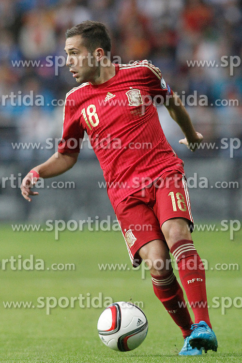 05.09.2015, Stadio Nuevo Carlos Tartiere, Oviedo, ESP, UEFA Euro 2016 Qualifikation, Spanien vs Slowakei, Gruppe C, im Bild Spain's Jordi Alba // during the UEFA EURO 2016 qualifier Group C match between Spain and Slovakia at the Stadio Nuevo Carlos Tartiere in Oviedo, Spain on 2015/09/05. EXPA Pictures &copy; 2015, PhotoCredit: EXPA/ Alterphotos/ Acero<br /> <br /> *****ATTENTION - OUT of ESP, SUI*****