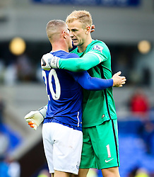Everton's Ross Barkley hugs Joe Hart of Manchester City after the final whistle - Mandatory byline: Matt McNulty/JMP - 07966386802 - 23/08/2015 - FOOTBALL - Goodison Park -Everton,England - Everton v Manchester City - Barclays Premier League